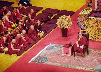 When the Dalai Lama appeared at New York's Madison Square Garden, he prayed on a rug crafted by InnerAsia Tibetan Carpets. Art to Walk On sold the rug in one day after sharing its story. Photo courtesy of ABC Home and InnerAsia.