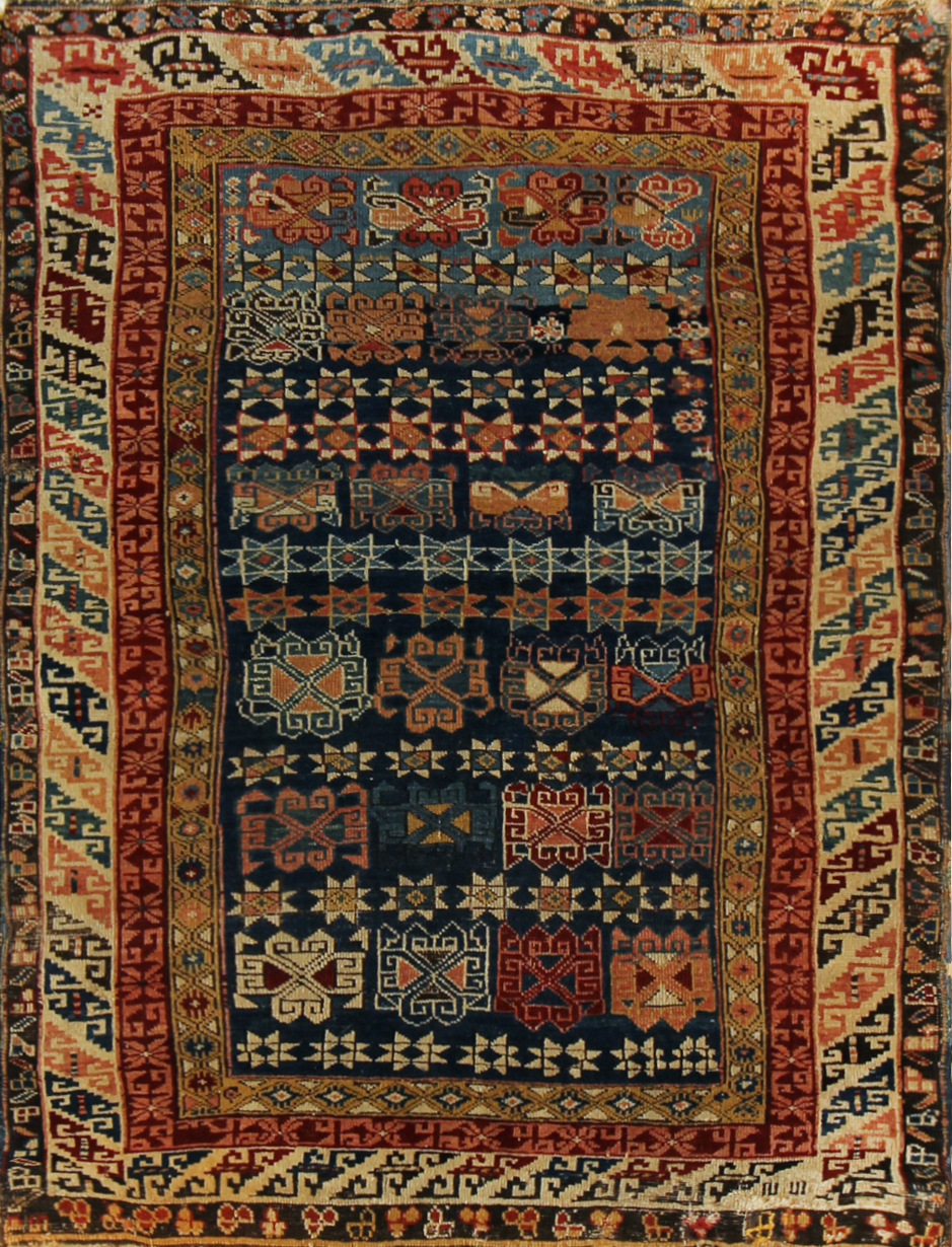 100 Seichour, young girls sampler, Baku area, circa 1876, 3'3''x4'4''