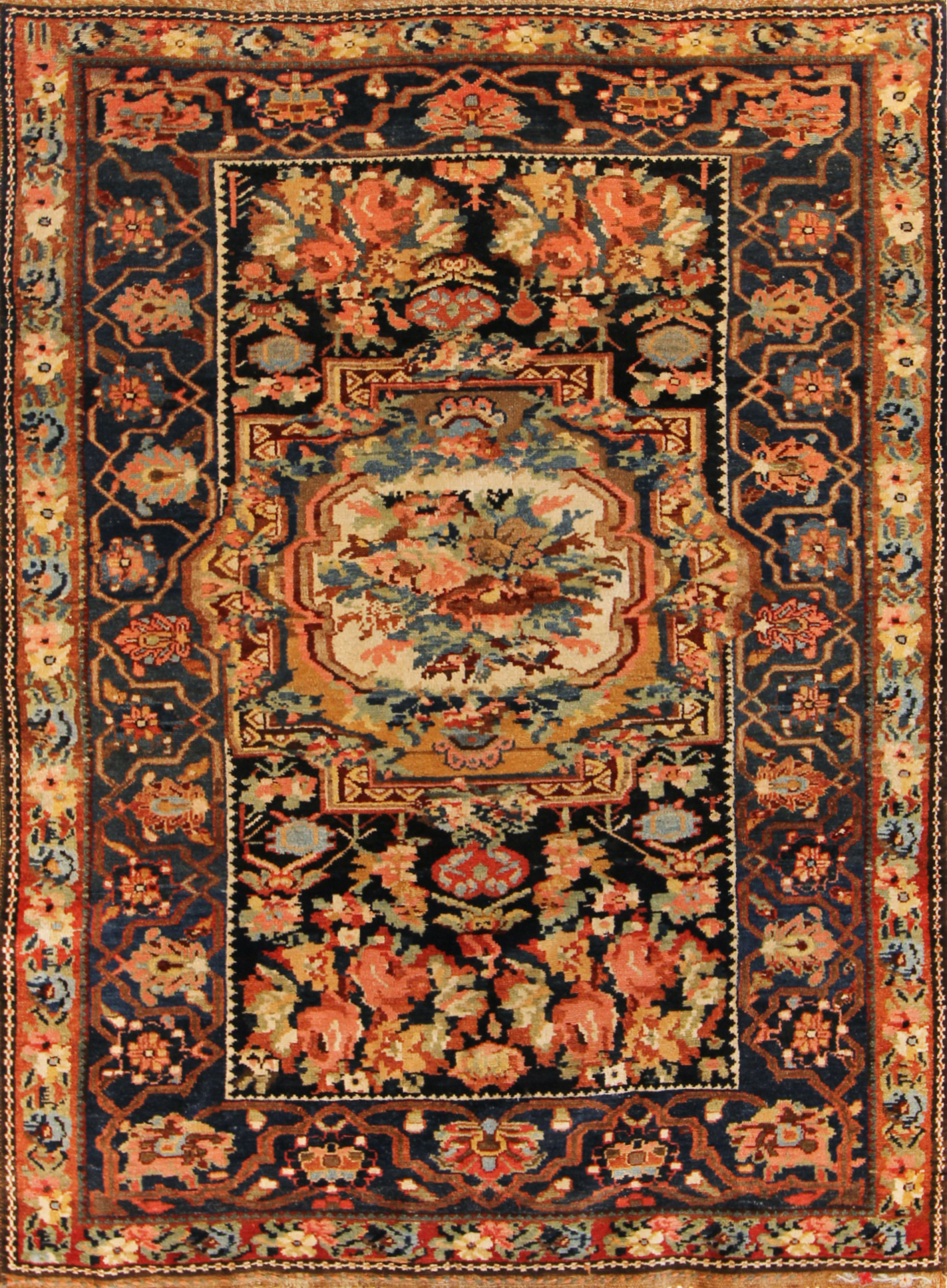 67 Armenian Village Carpet, Chahar Mahal, Iran, circa 1895, french influence, 4'8''x6'8''