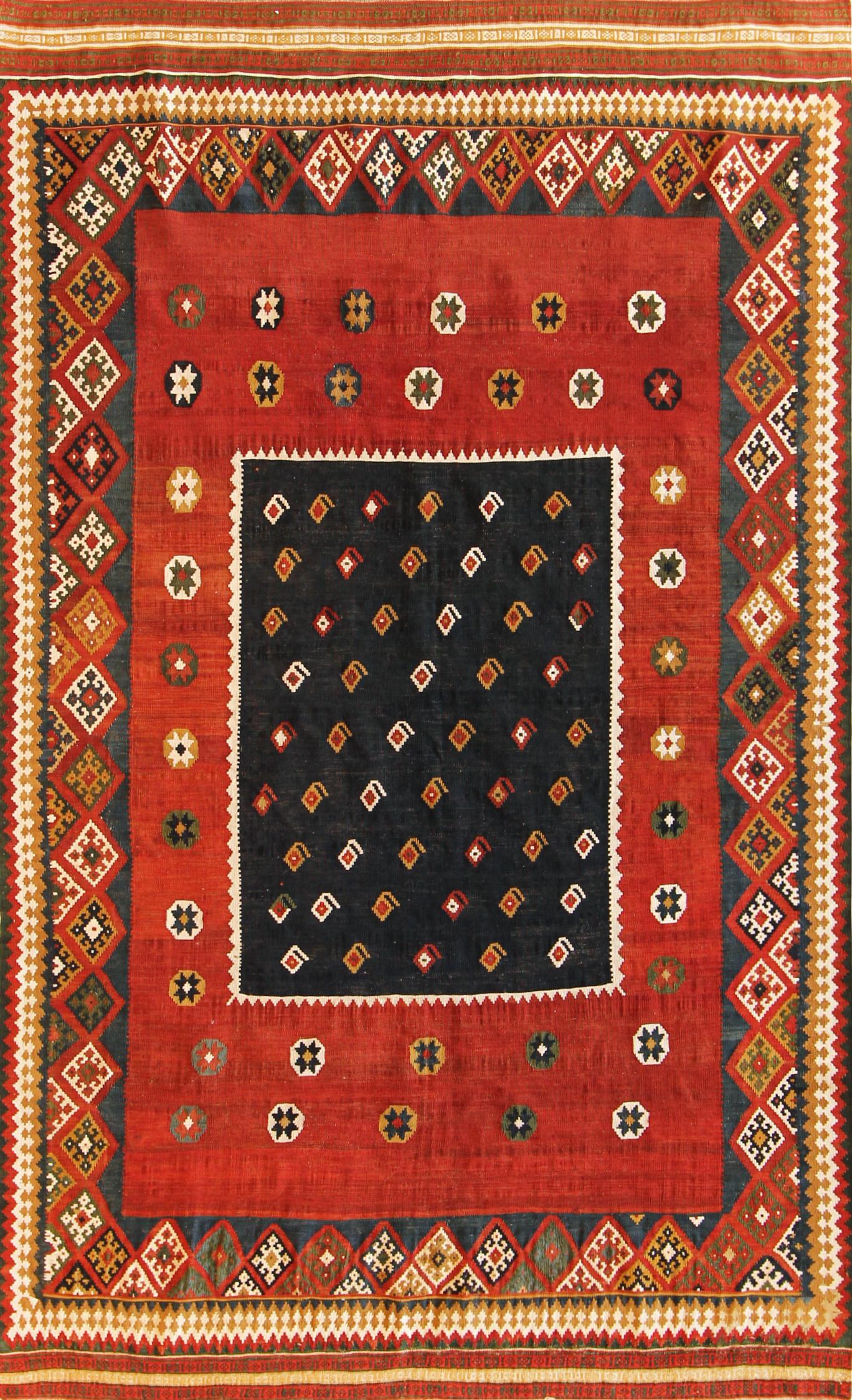 358 Antique Persian Gashgai Kilim, 4'8''x7'6''