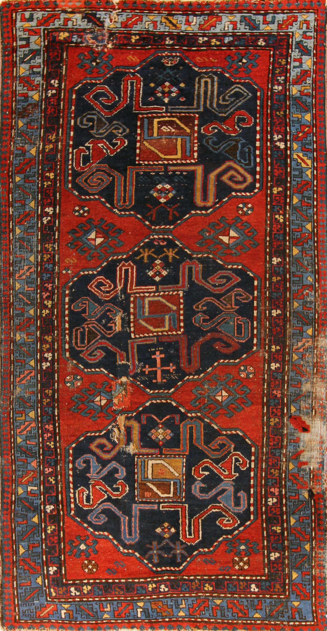 82 Armenian Cloudband Kazak, circa 1880, 4'2''x7'11''