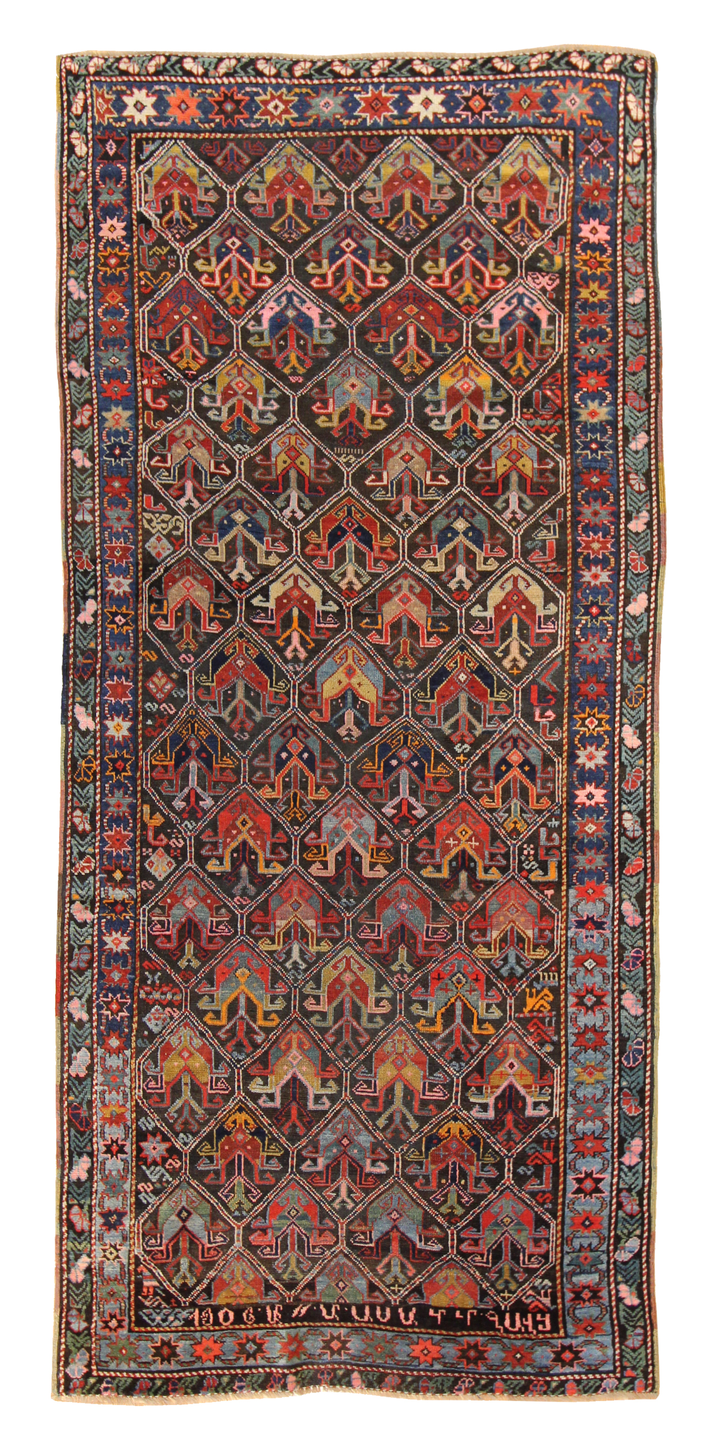 524 Tulip Karabagh, dated 1906, 4'x9'