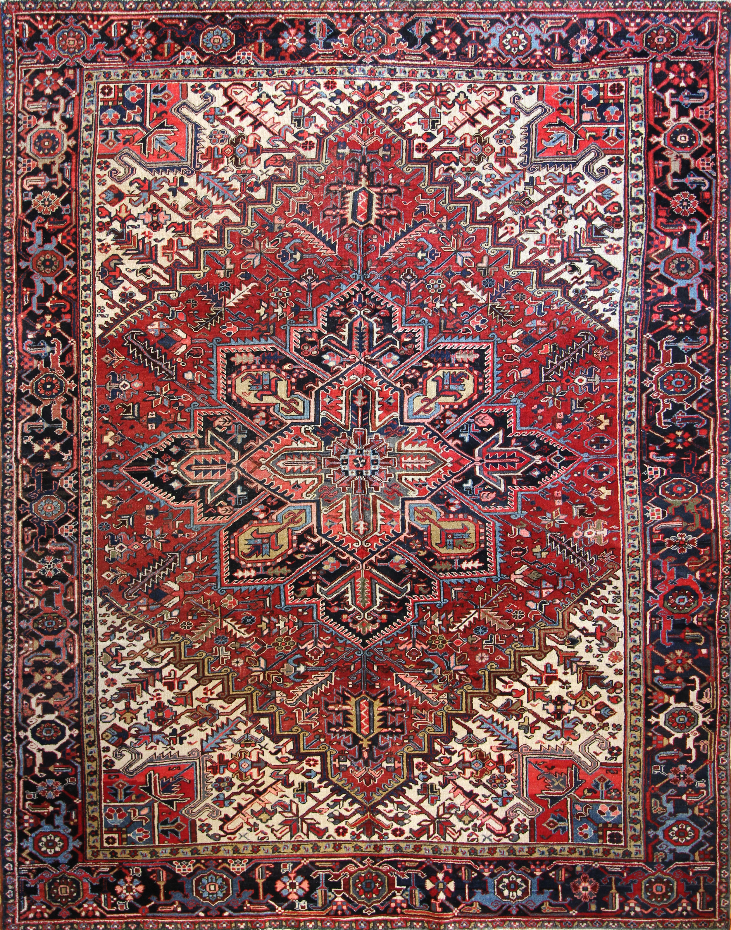 "961 Antique Heriz Persia 8'11""x11'2"""