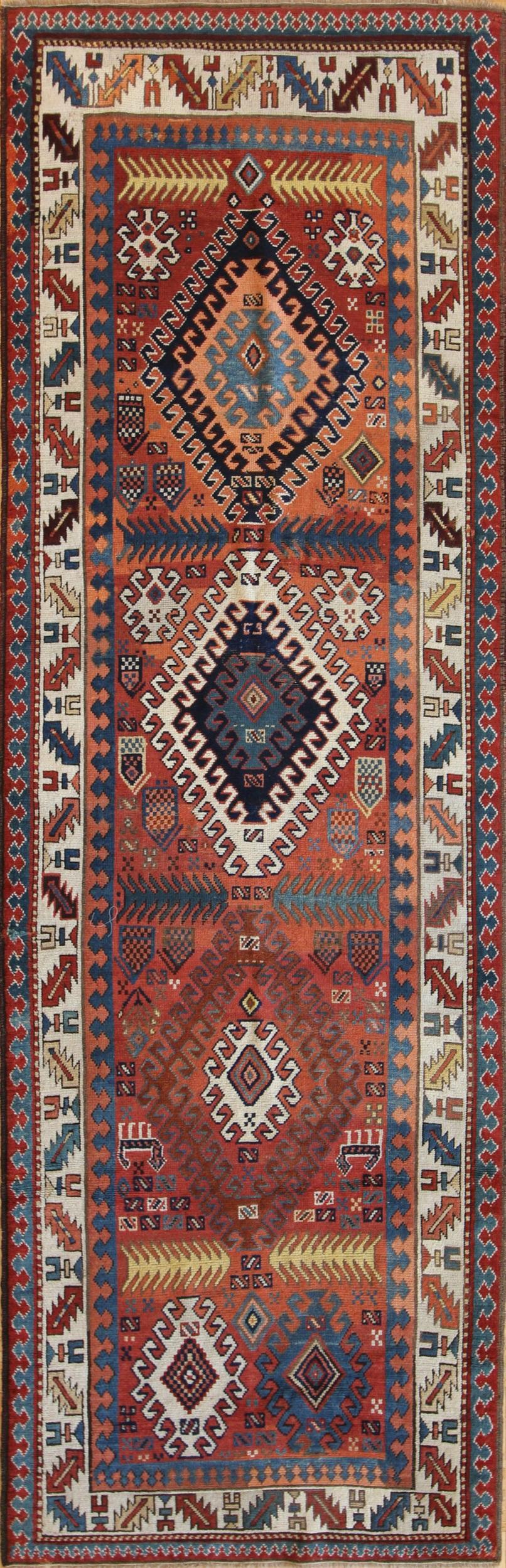 "CC22 Kazak Runner Armenian c1890 3'5""x10'8"""