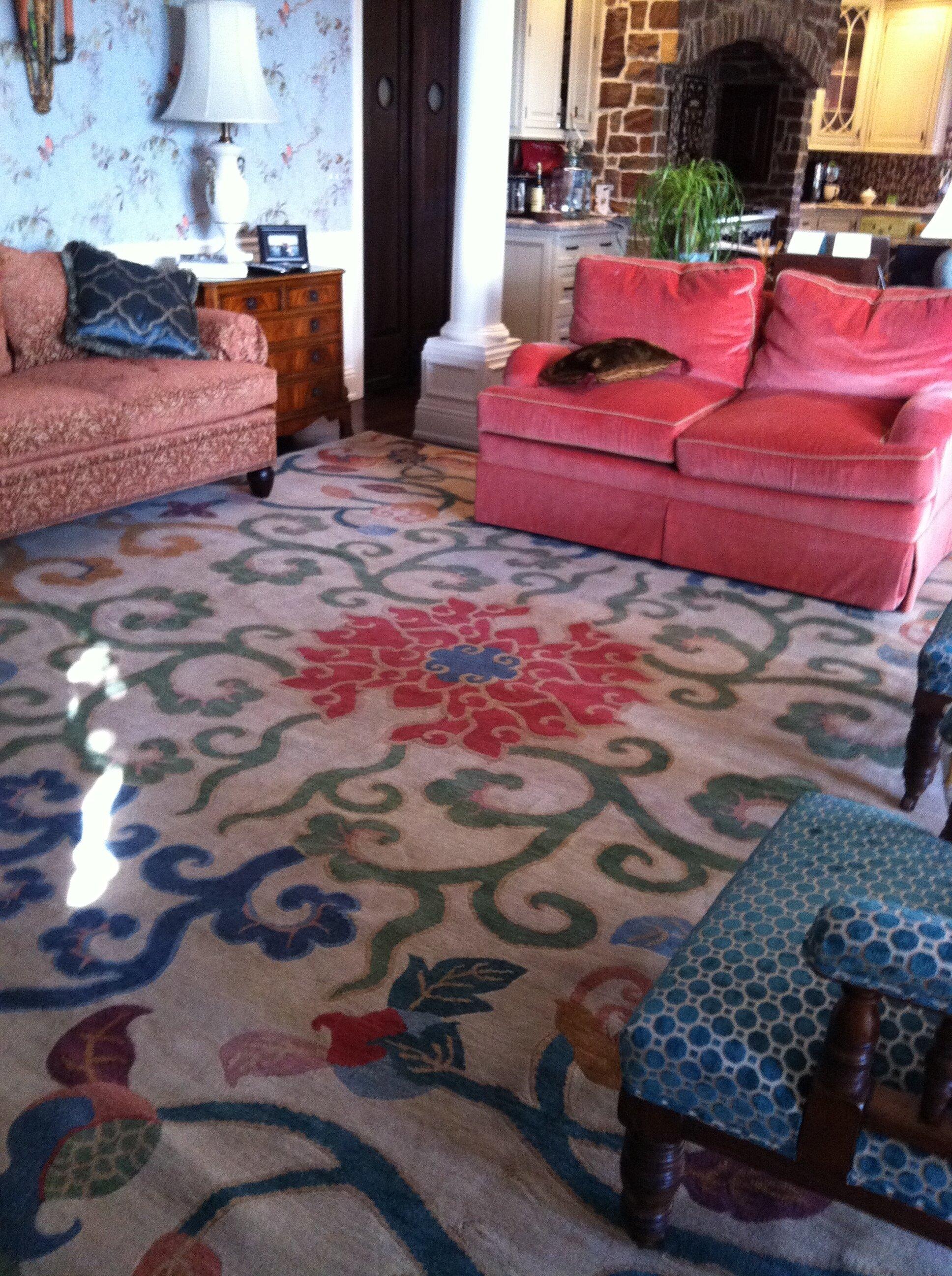 Bespoke carpet, hand woven in Tibet.