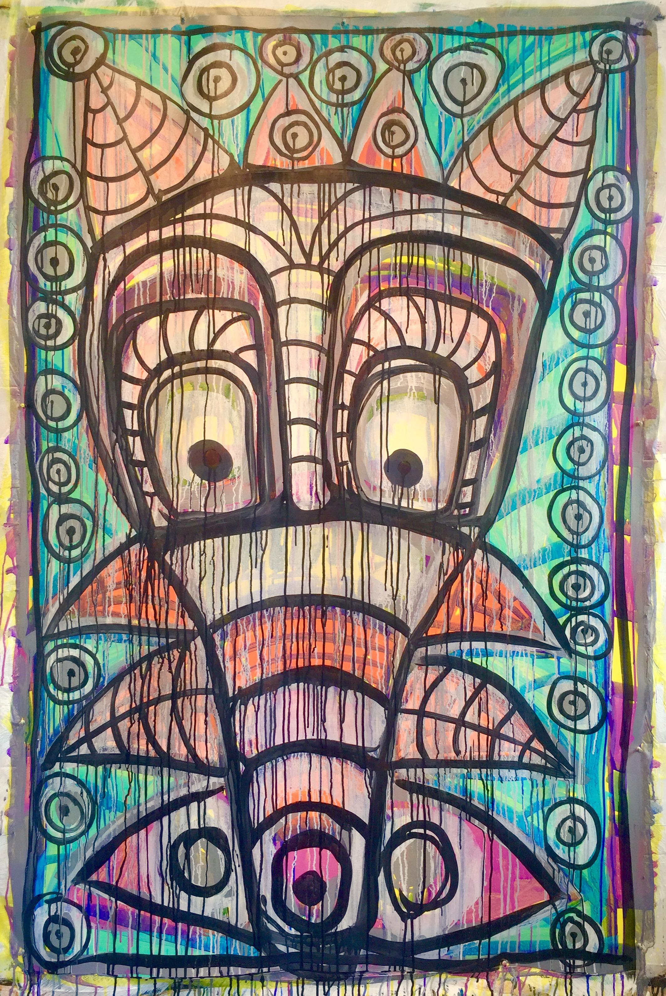 """Juan Alonso-Rodríguez, Leafy Snout, 2017, acrylic on paper, 66"""" x 45"""""""