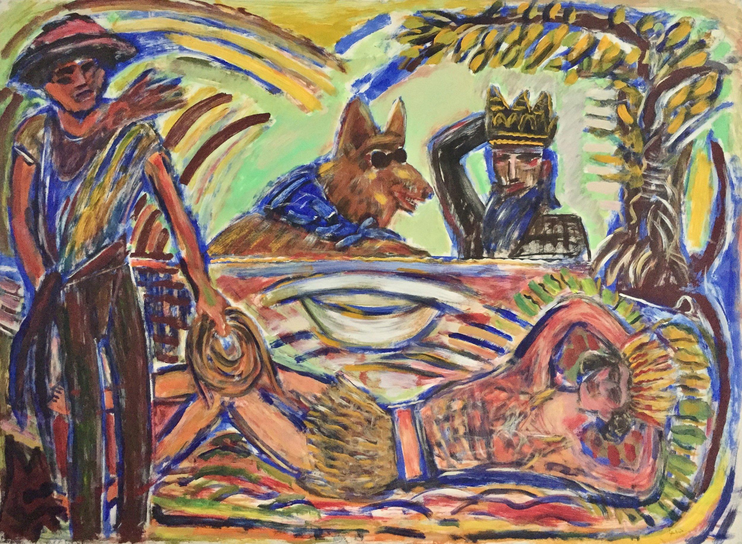 "Yadviga Dowmont Halsey,  Cowboy Dreams , acrylic on paper, 39"" x 53"""