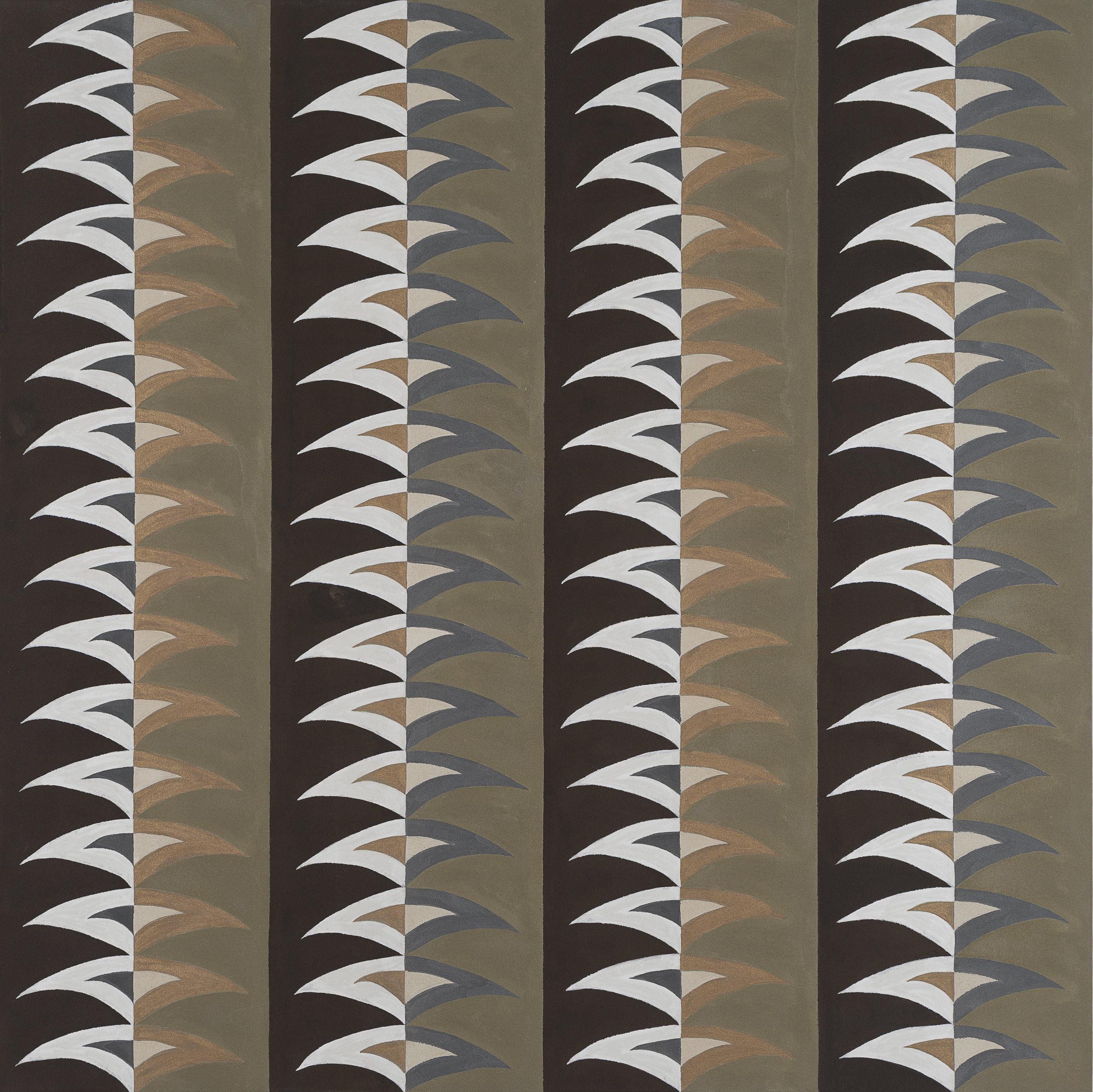 "Tobacco Pattern 1 - 2017, acrylic on unprimed canvas, 38"" x 48"""