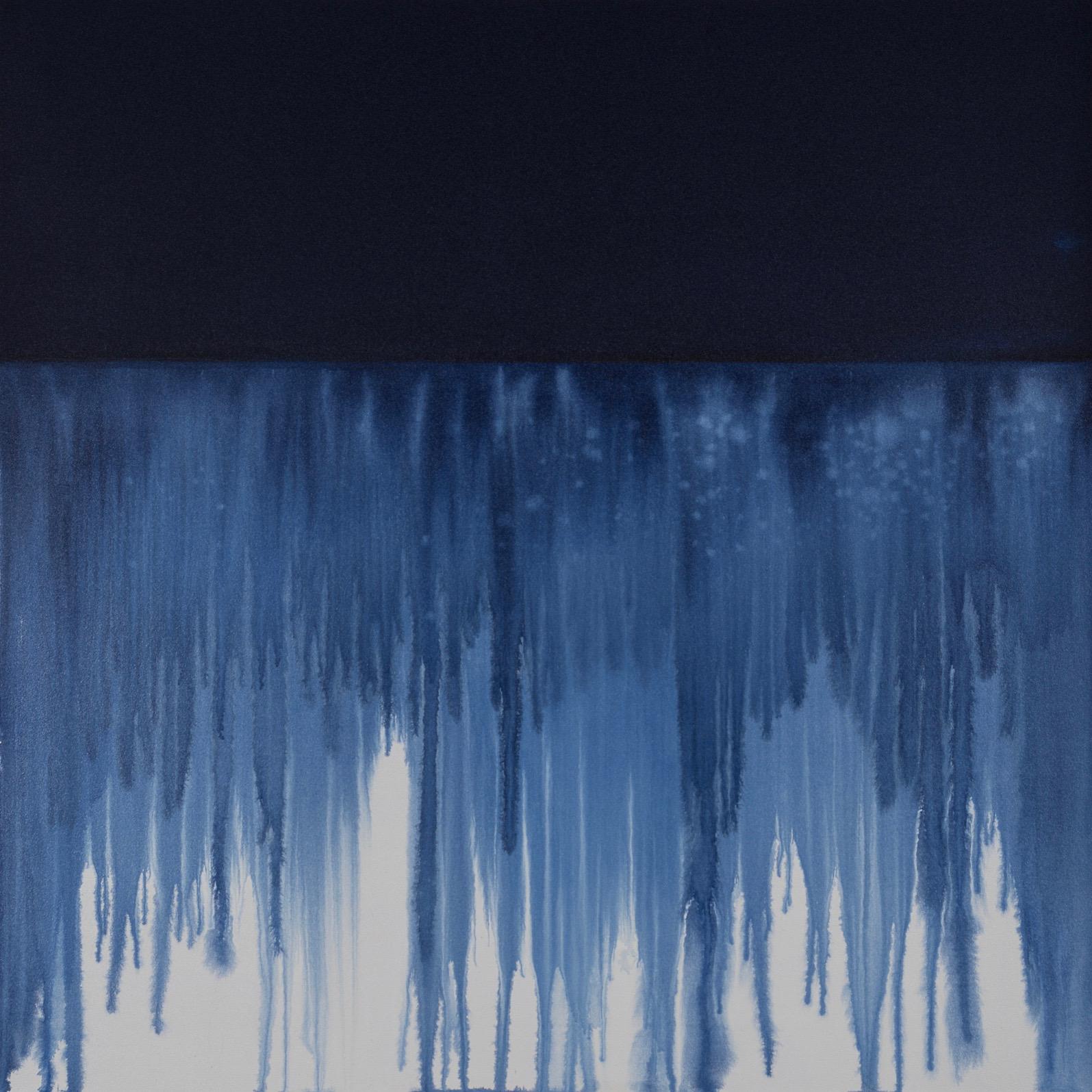 "Indigo Flow 2, 2017, acrylic on unprimed canvas, 48"" x 48"""