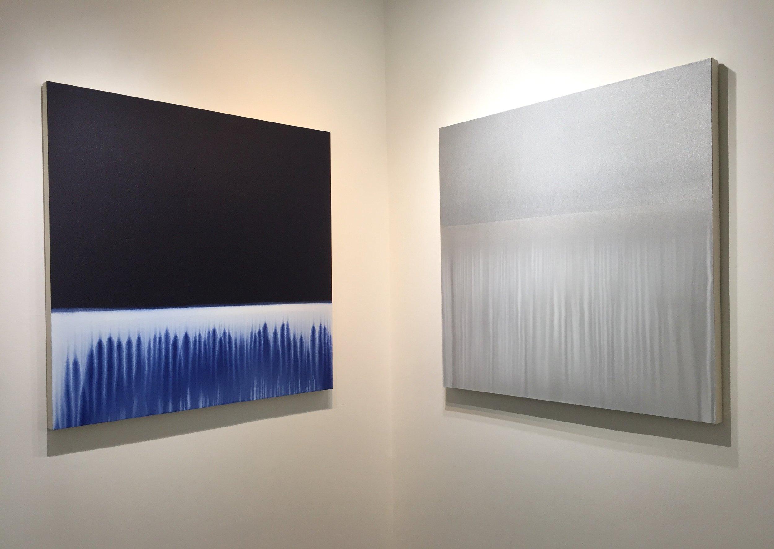 "Indigo Flow 6   &   Silver Flow  , 2018, acrylic on unprimed canvas, 42"" x 42"" each."