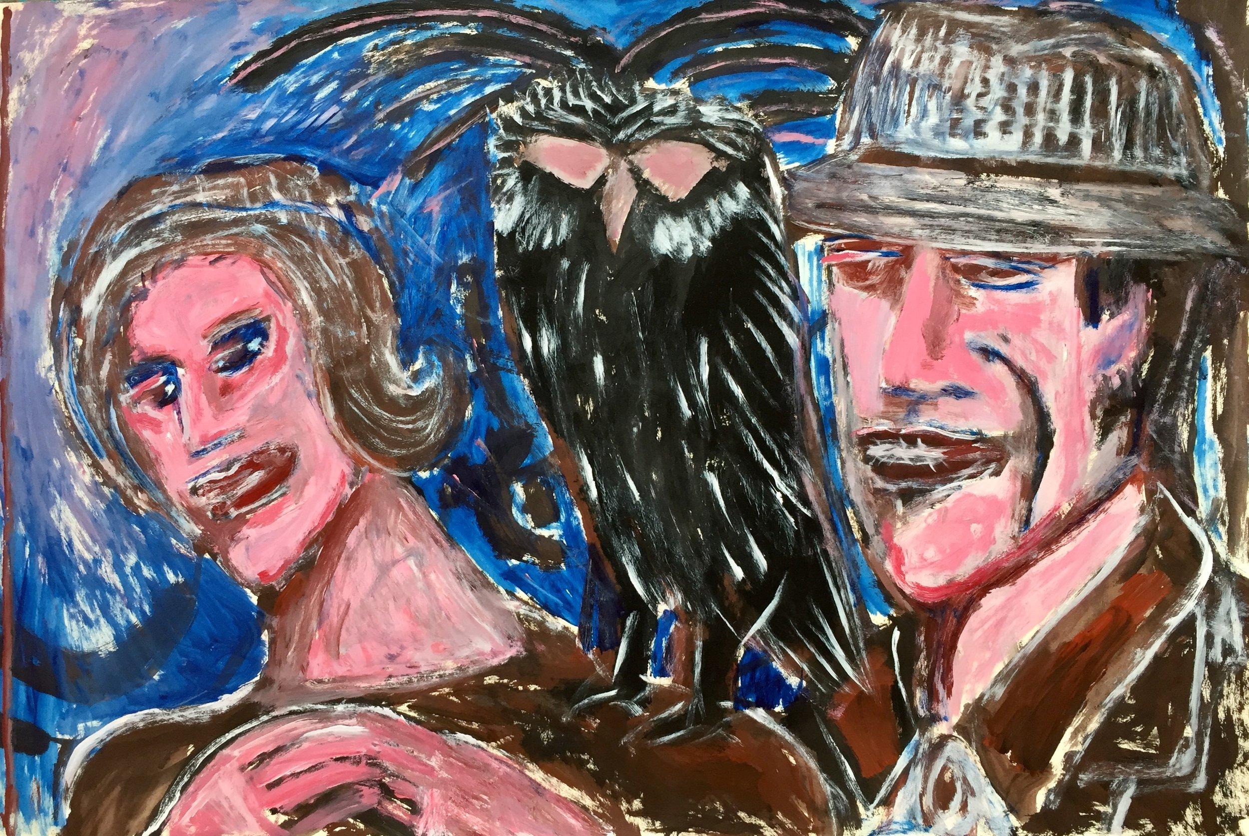 "Black Owl, acrylic on paper, 26"" x 40"""