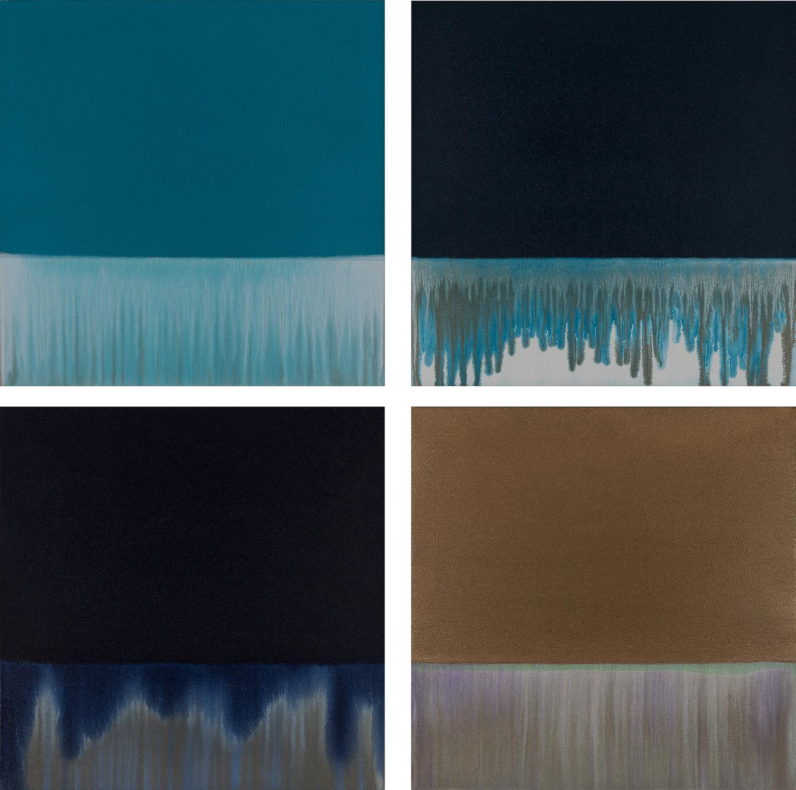 "Gradient Flow: Teal, Pthalo, Indigo & Bronze, 2018, acrylic on unprimed canvas, 24"" x 24"" each panel"
