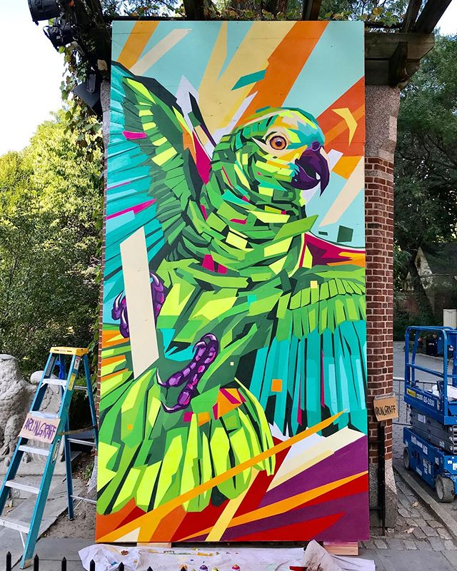"""New work at Central Park Zoo for Climate Week NYC 2019  For @GreenpointInnovations' climate #artpluspurpose initiative #GreenpointEARTH at the @CentralParkZoo in collaboration with @thewcs & #Nature4Climate..."""" #ArlinGraff #ArtPlusPurpose #GreenpointInnovations #centralparkzoo #ClimateWeekNYC #NatureNow"""