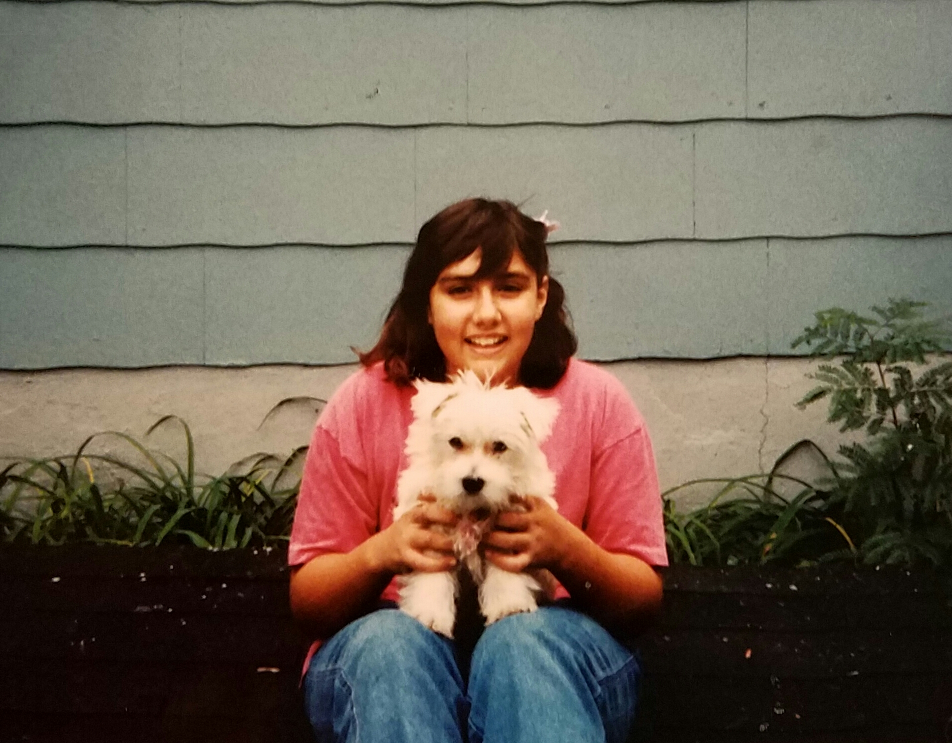 Rebecca age 11 with Kelsey her West Highland White Terrier