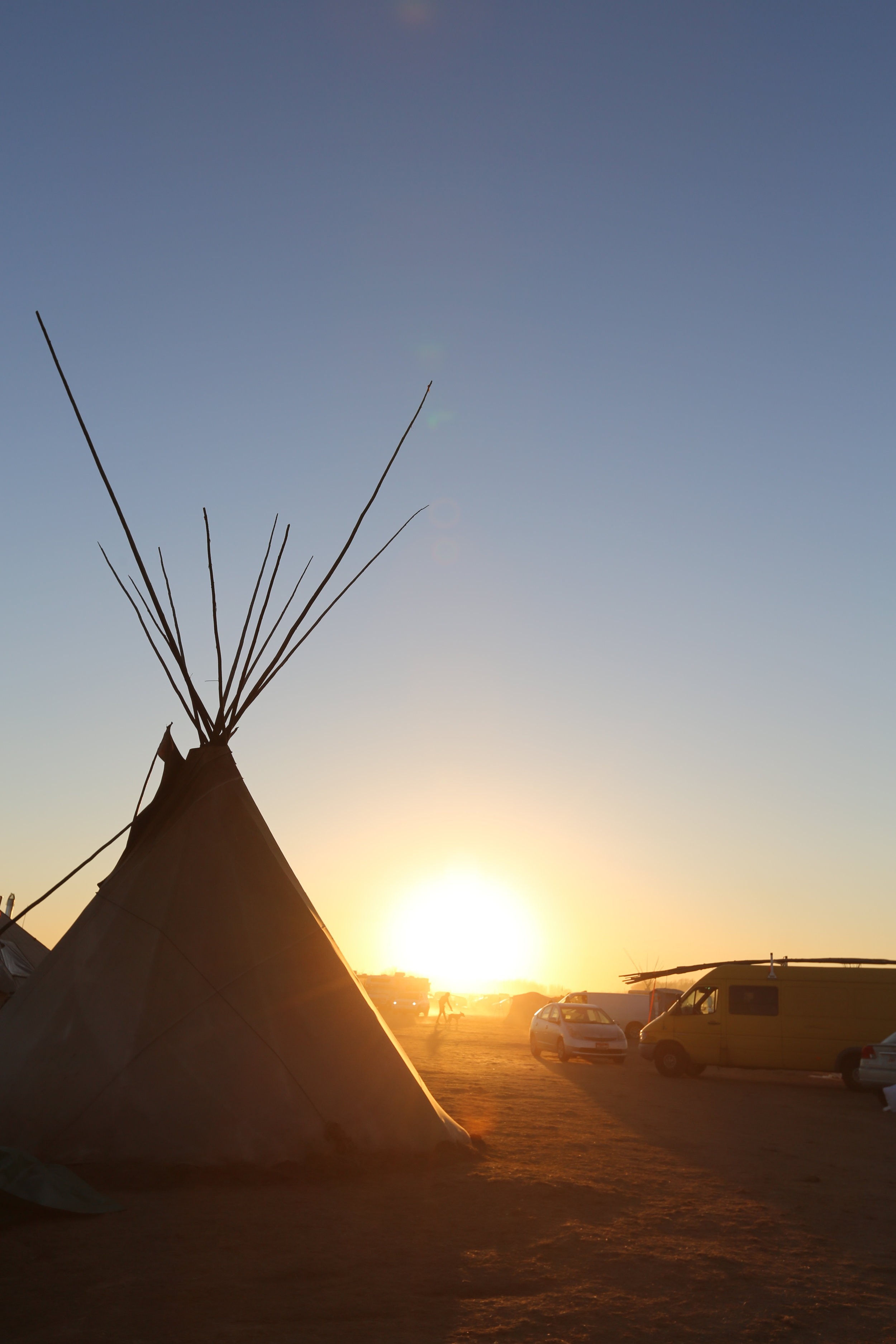 Sunset at Oceti Sakowin Camp. Photo by Heather Wilson