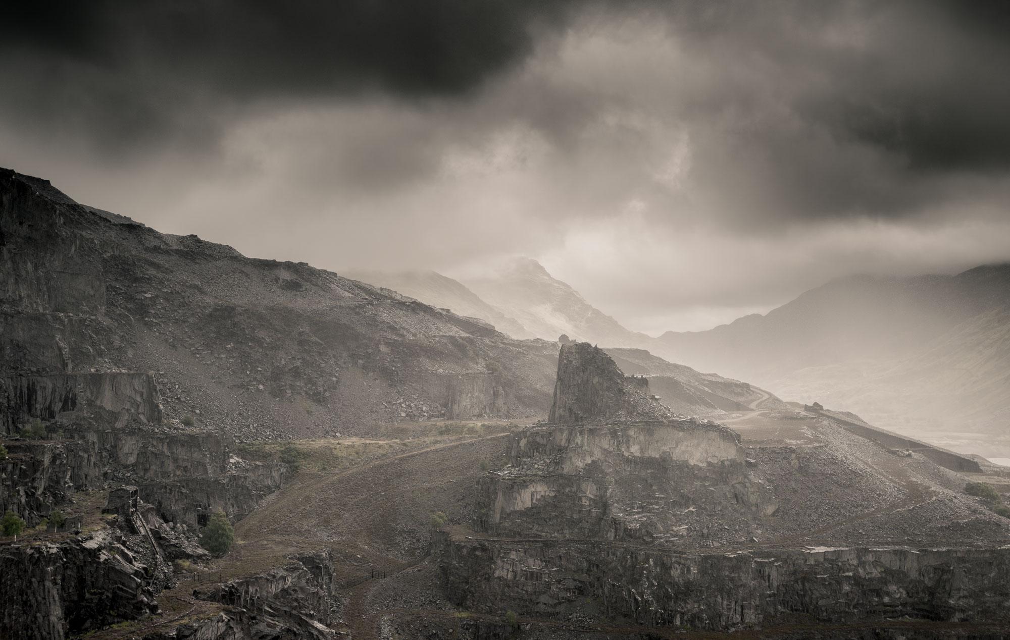 Slate peak under cloud