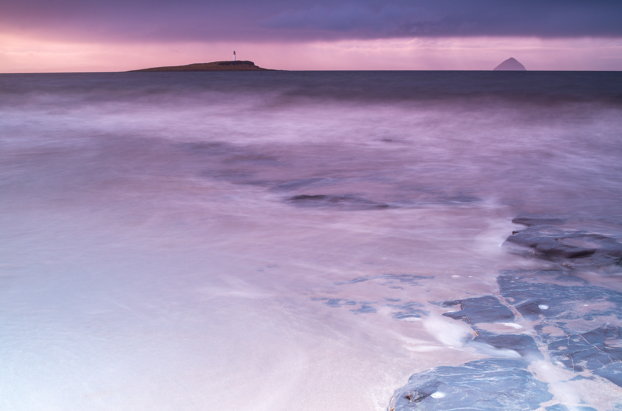 Dawn over Pladda and Ailsa Craig from Arran