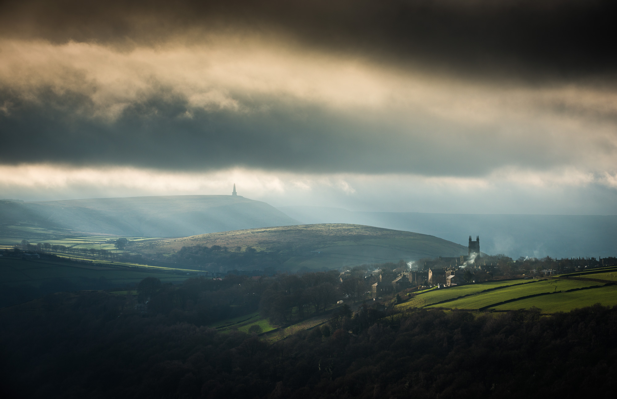 Dramatic light over Heptonstall and the Calder Valley
