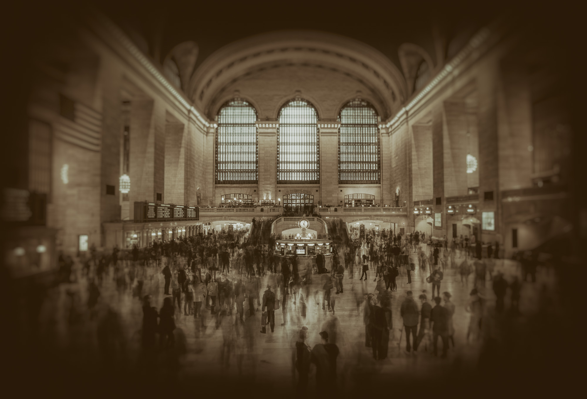Rush hour in Grand Central Station in Monochrome
