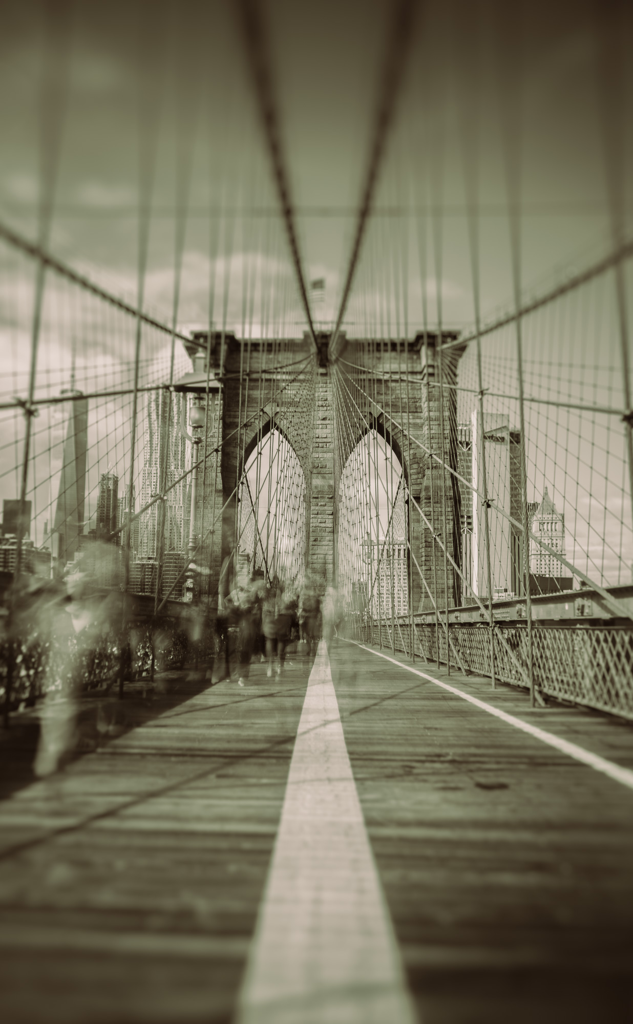 Walking the Brooklyn Bridge in Monochrome