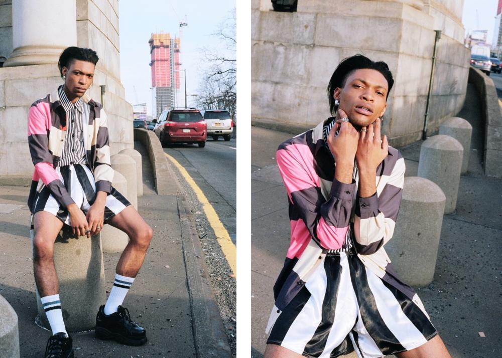 jacket by Rochambeau, shorts by Adam Dalton Blake, shoes by Buffalo  model: Zeraj Retalso  photographer: Bobby Banks