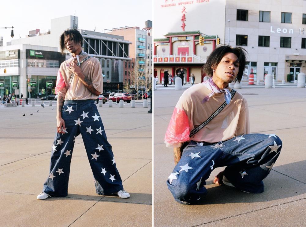 top by Victoria Aguilar, pants by Adam Dalton Blake  model: Zeraj Retalso  photographer: Bobby Banks