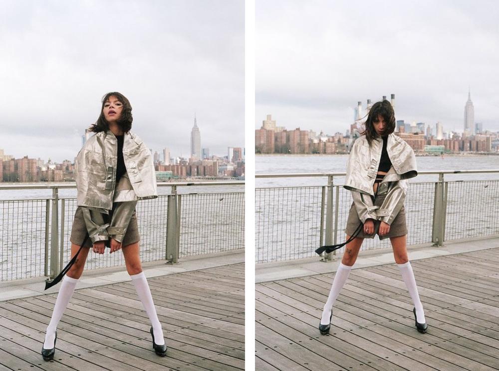 Jacket and top by Keiko Koakutsu, shorts by American Retro, socks are American Apparel, Chanel shoes  model: @kimmyisskinny  Photographer: Bobby Banks