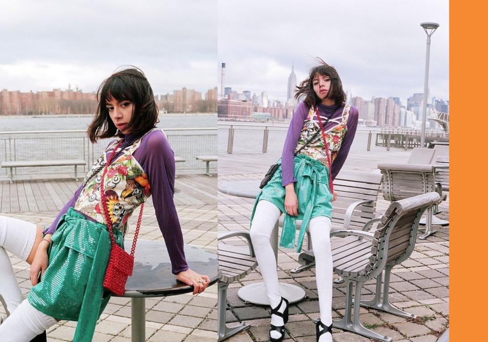 full look by Keiko Koakutsu, American Apparel socks, Gucci shoes , vintage Express beaded bags  model: @kimmyisskinny  Photographer: Bobby Banks