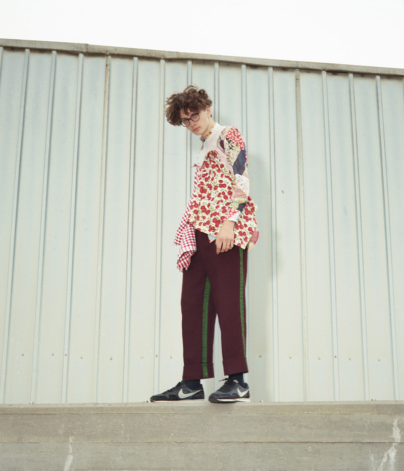 Top by Bode  Floral top by Mila Sullivan  Pants by William Ryan Stautberg  Shoes by Nike