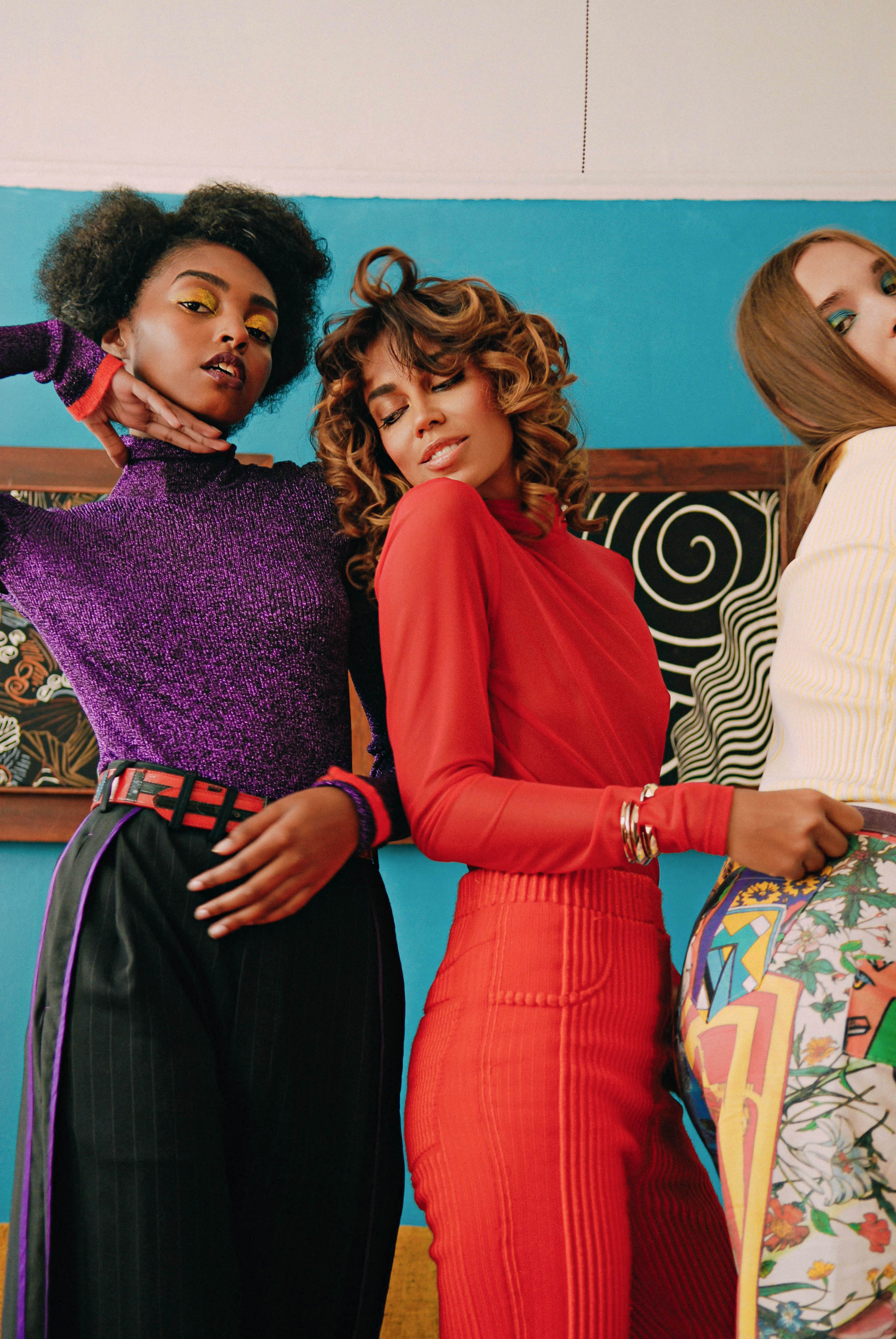 From left to right:  Top by Missoni, pants by Snow Xue Gao  Top by Elena Rudenko, pants by Zoe Champion