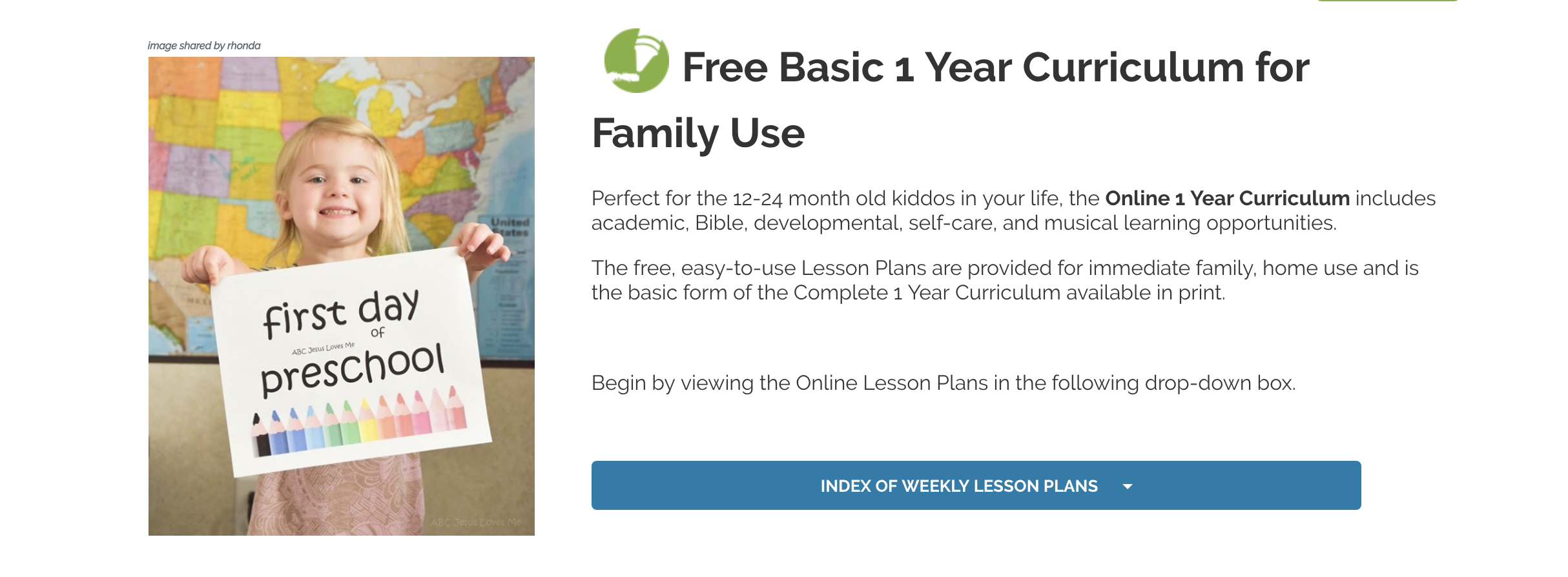 "Click on the ""INDEX OF WEEKLY LESSON PLANS"" for free online access to each weekly lesson plan and supply list."