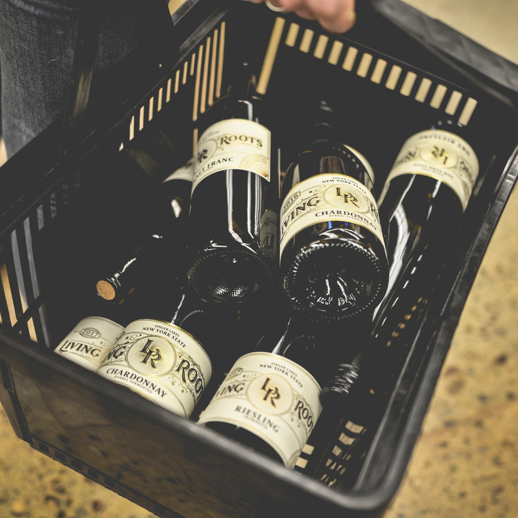 Wine bottles in store carry basket