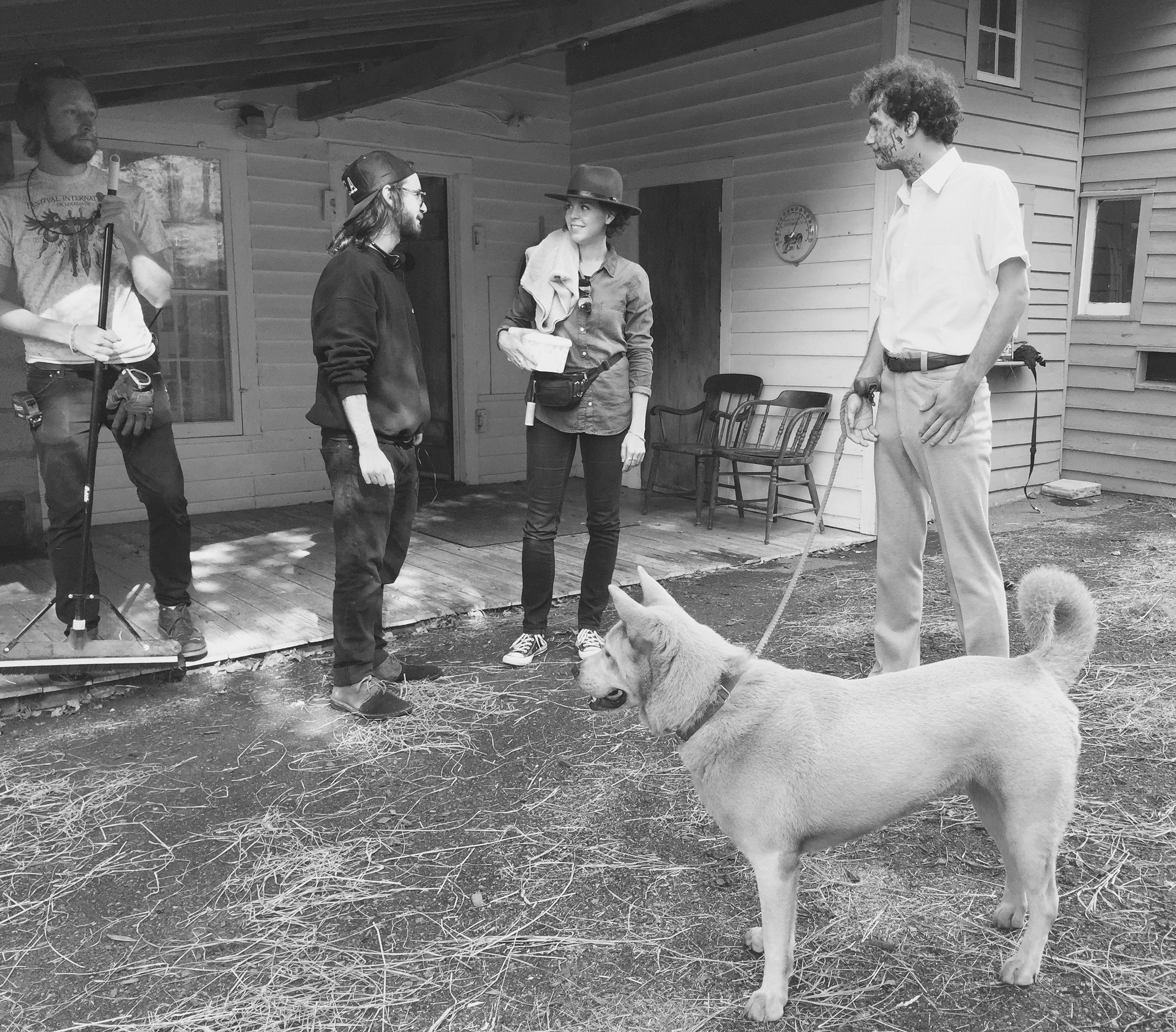 1 - Me with my director Nick Pesce, actor Will Brill and his dog and production design Sam Hensen on set at the house for Eyes.jpg