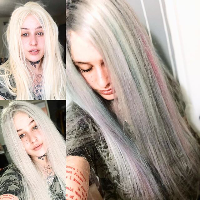 I did a thing today! I bought a new wig a few days ago but it was superrrrr yellow! So I made my own mixer of various toners to go platinum/silver, then did dark grey shadow roots , did mint/salmon/shark blue/lavender/ Smokey amethyst/ highlights using ION  and bam I got my wig ready for Pride! 🙌🏼💕 Will take pics in day light tomorrow as it was already dark when I got done!  #seattlepride #tacomatattoo #ion #frontlace #girlswhotattoo