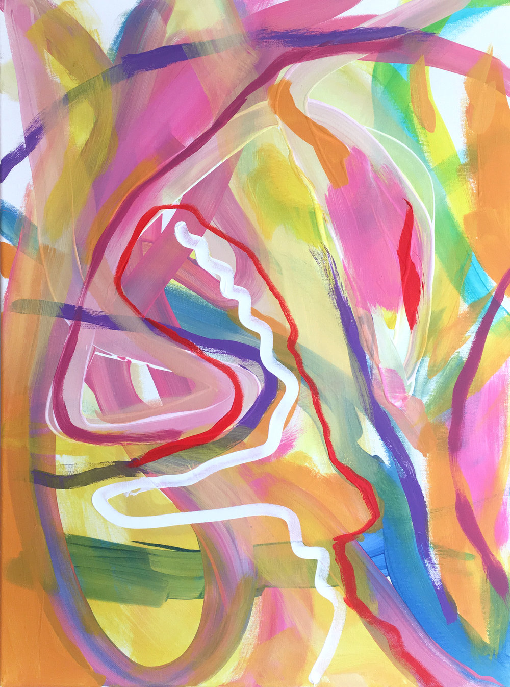 Summer Cocktail original finger painted acrylic canvas