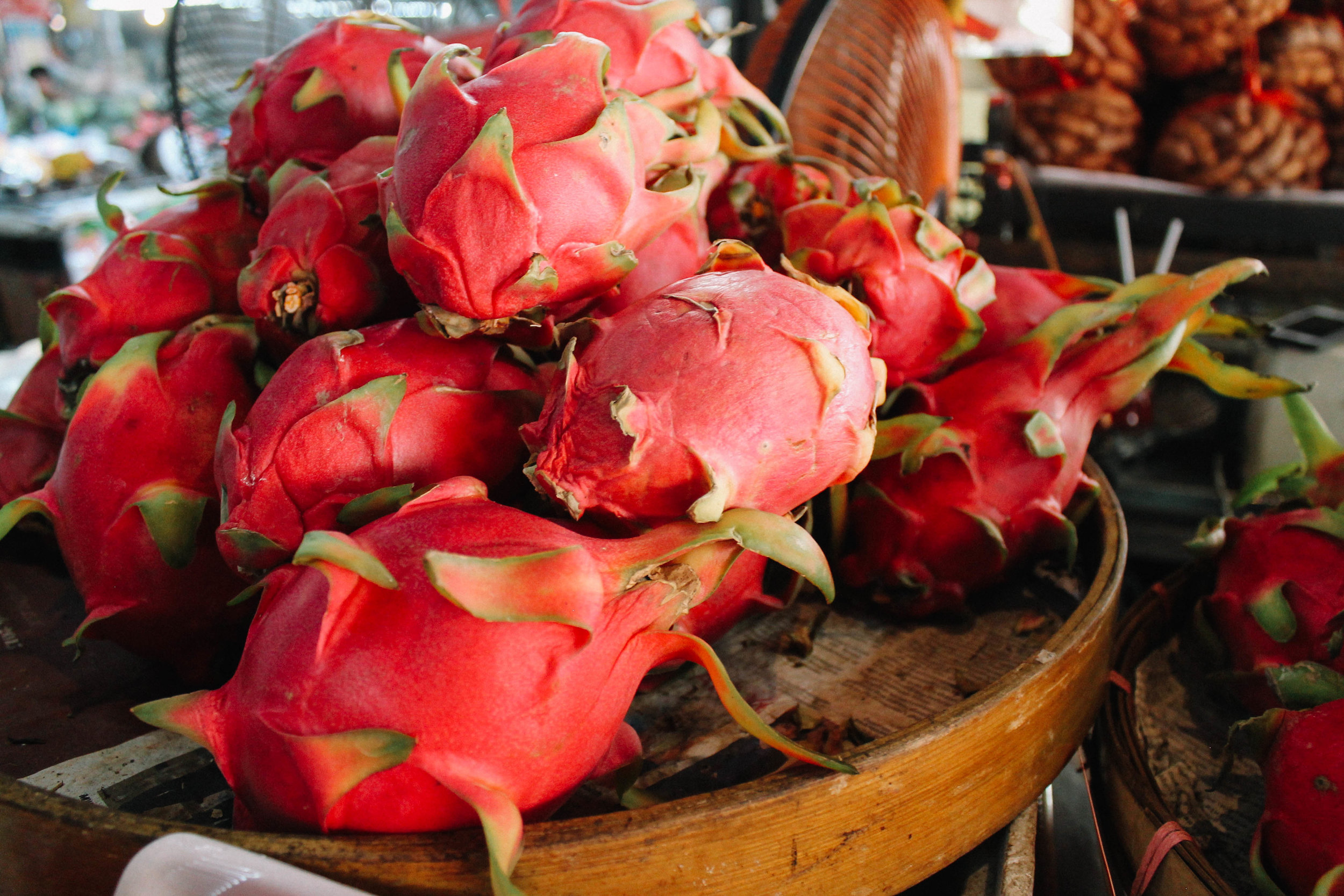 Dragonfruit are a perfect example of a thick-skinned fruit you can buy and peel yourself.