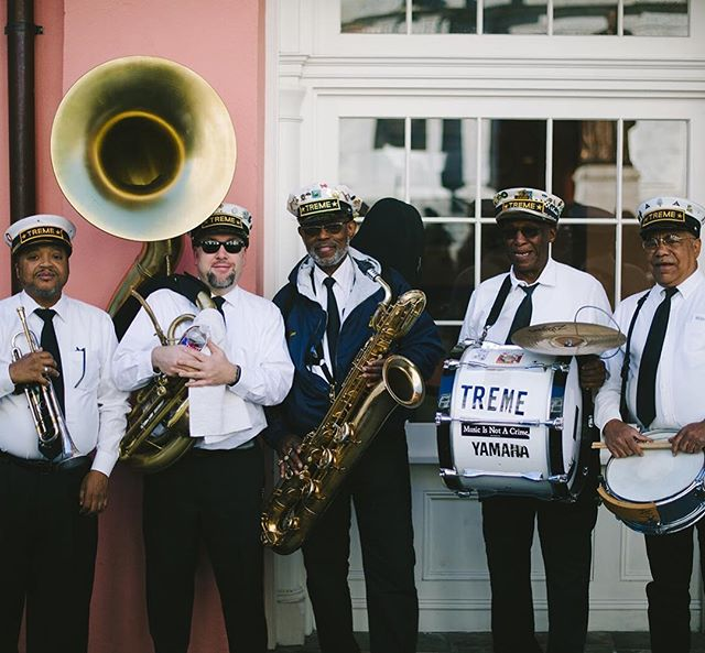 World famous #tremebrassband was a part of our secondline for Sarah and Adam.  Secondlines are a unique and vibrant wedding tradition here.  We basically will take any excuse to have a parade, truly I think Brennan's where this was shot has one for turtles coming up.  So yes, get married and have your own. Why not? #weddingsecondline #tremebrassband #wednola #nolaweddingplanner #brennansnola #nolabride #letsgetwed #letselope #frenchquarterwedding #neworleansbride #weddingparade #jazzwedding #bringthebrass #southernbride #thatlacommunity #igersnola #royalstreet