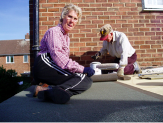 """""""mum and dad fixing my garage roof"""")"""