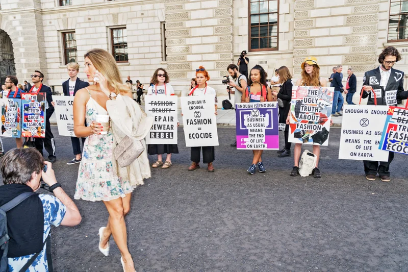 Photograph by Immo Klink from a protest outside London Fashion Week