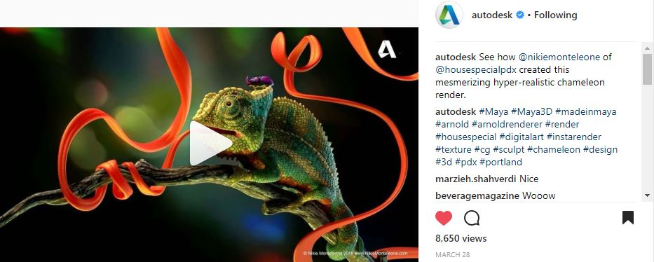I worked alongside Autodesk to make a fun breakdown video of my Chameleon which was then shared on their social media sites.
