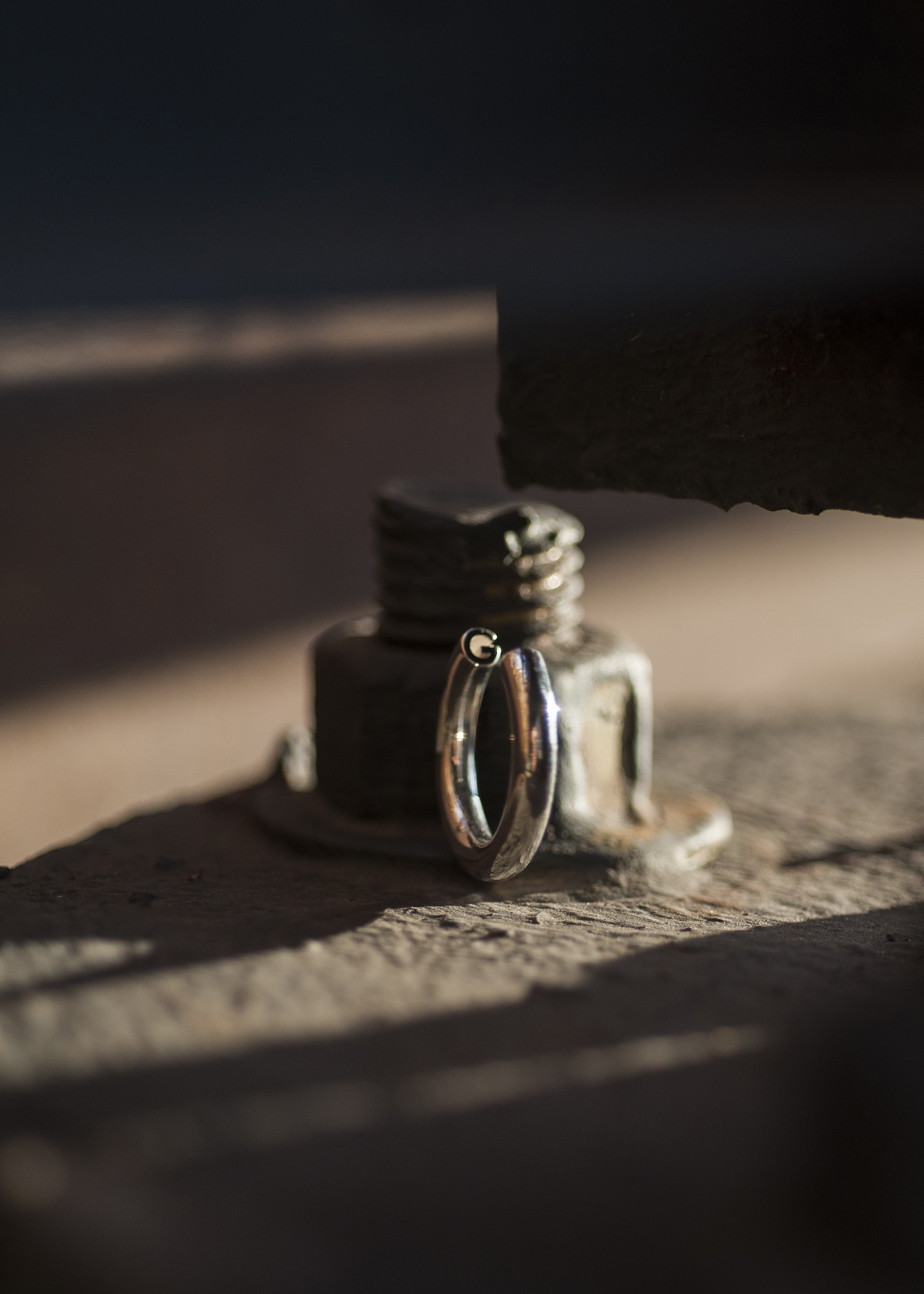 G Ring in Polished Silver