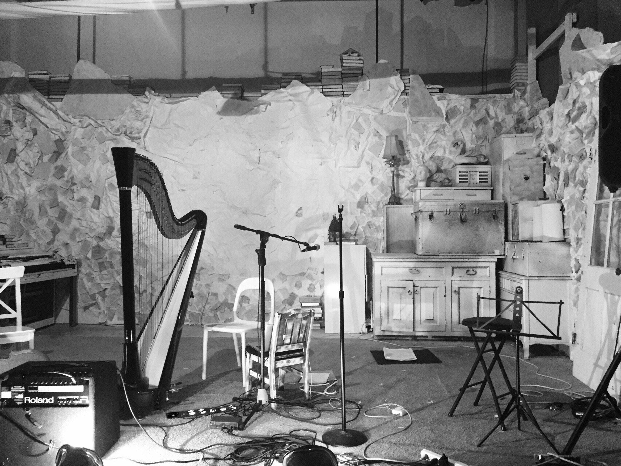 Harp & Empty stage black and white.JPG