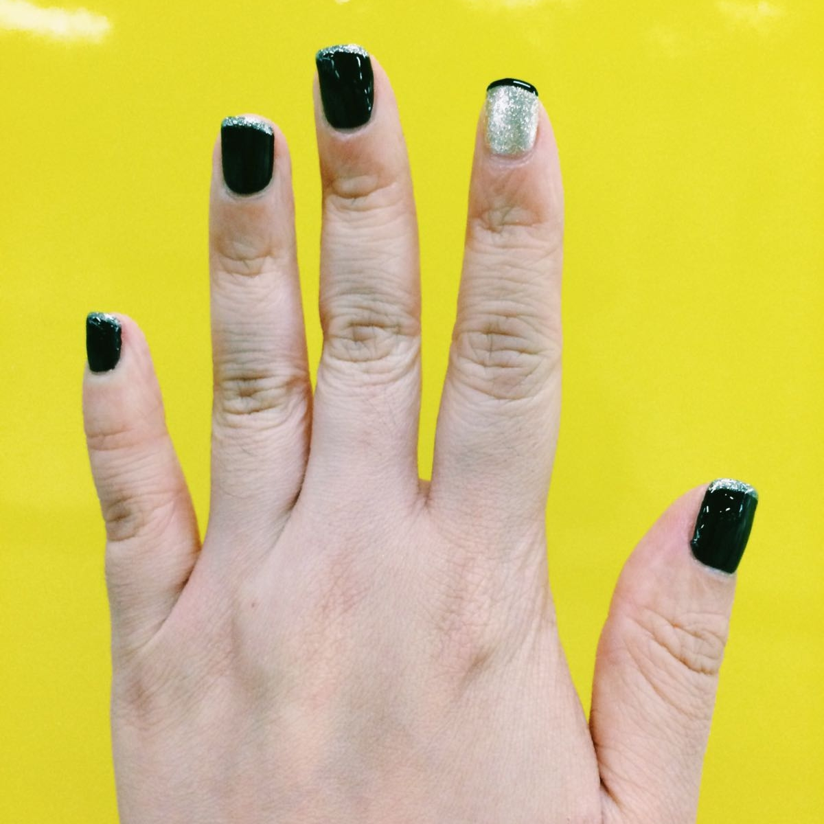 Black and gold french manicure by Tracy