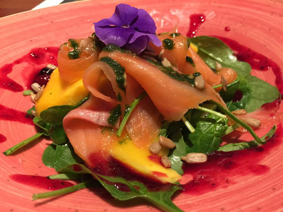 Mango salad with smoked salmon - shot by Wendy Su