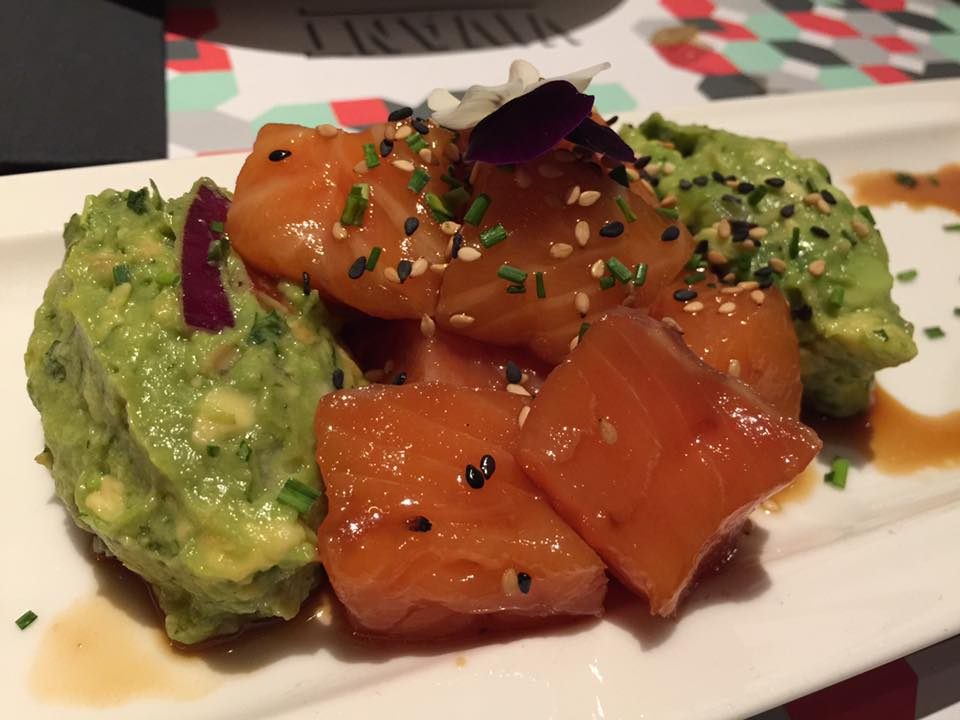 Avocado with salmon sashimi - shot by Wendy Su