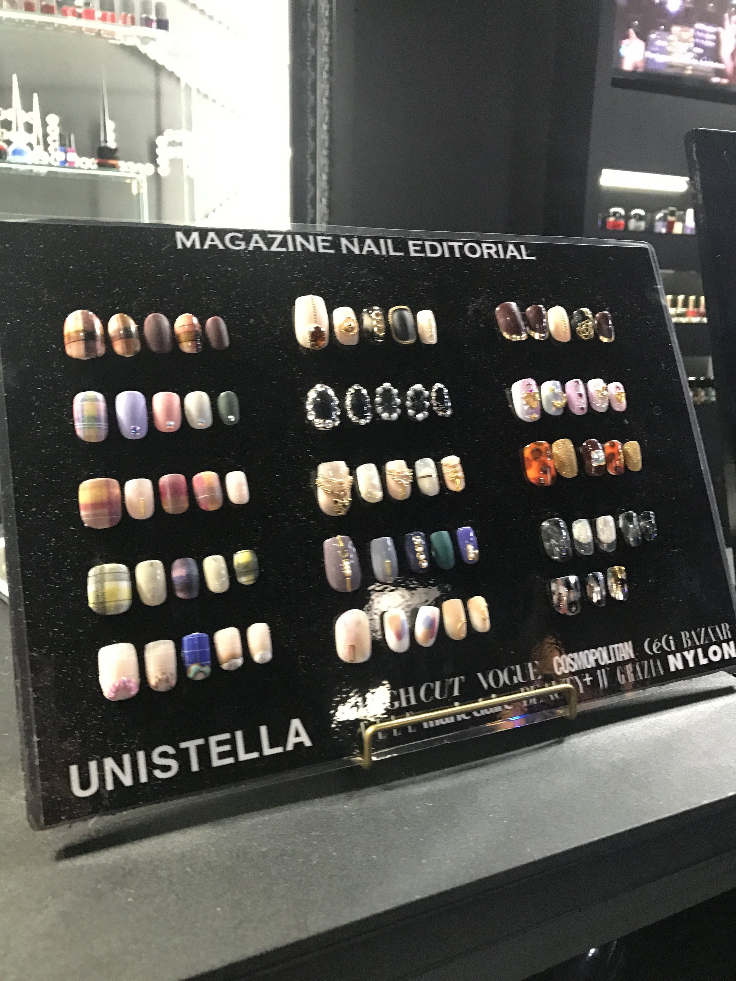 One of many nail design plaques in the store, I was tempted to do plaid, then pearls...it was difficult to choose from so many amazing designs