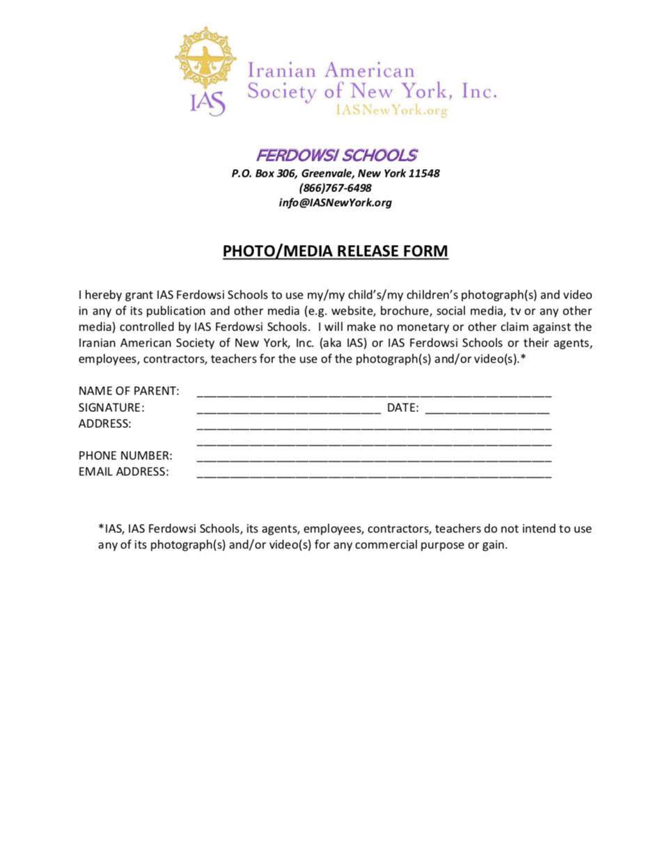 Photo/Media Release Form