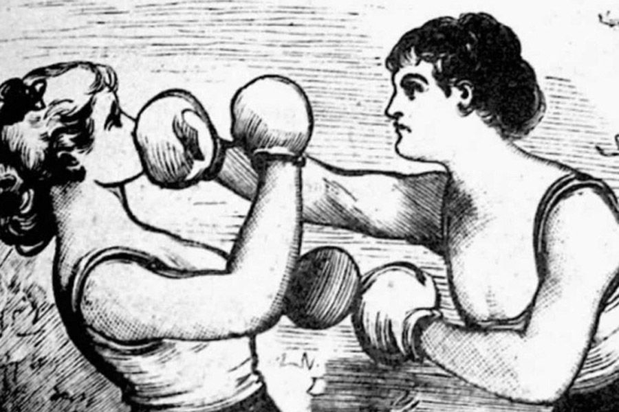 """Elizabeth Wilkinson enjoyed a six-year career as boxer. For her final bout, she was paid ten pounds, a healthy sum in 1728  Photography Source """"Vice"""""""
