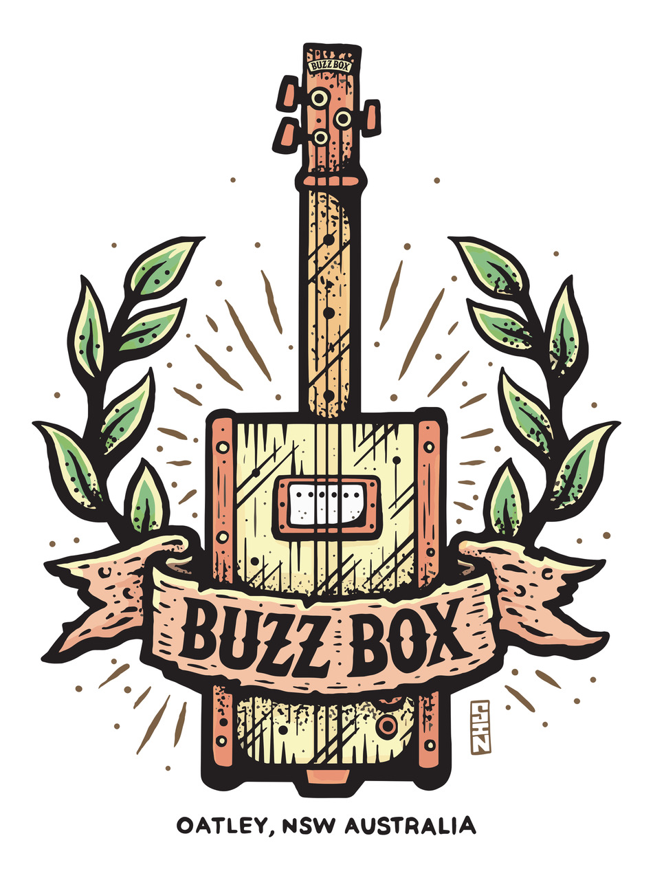 Buzz Box Guitars - In March 2019, Rory was officially endorsed by boutique Australian company, Buzz Box Guitars, makers of premium handcrafted three and four string slide, cigar box and tin guitars. Please visit their website to learn more.https://buzzboxguitars.com