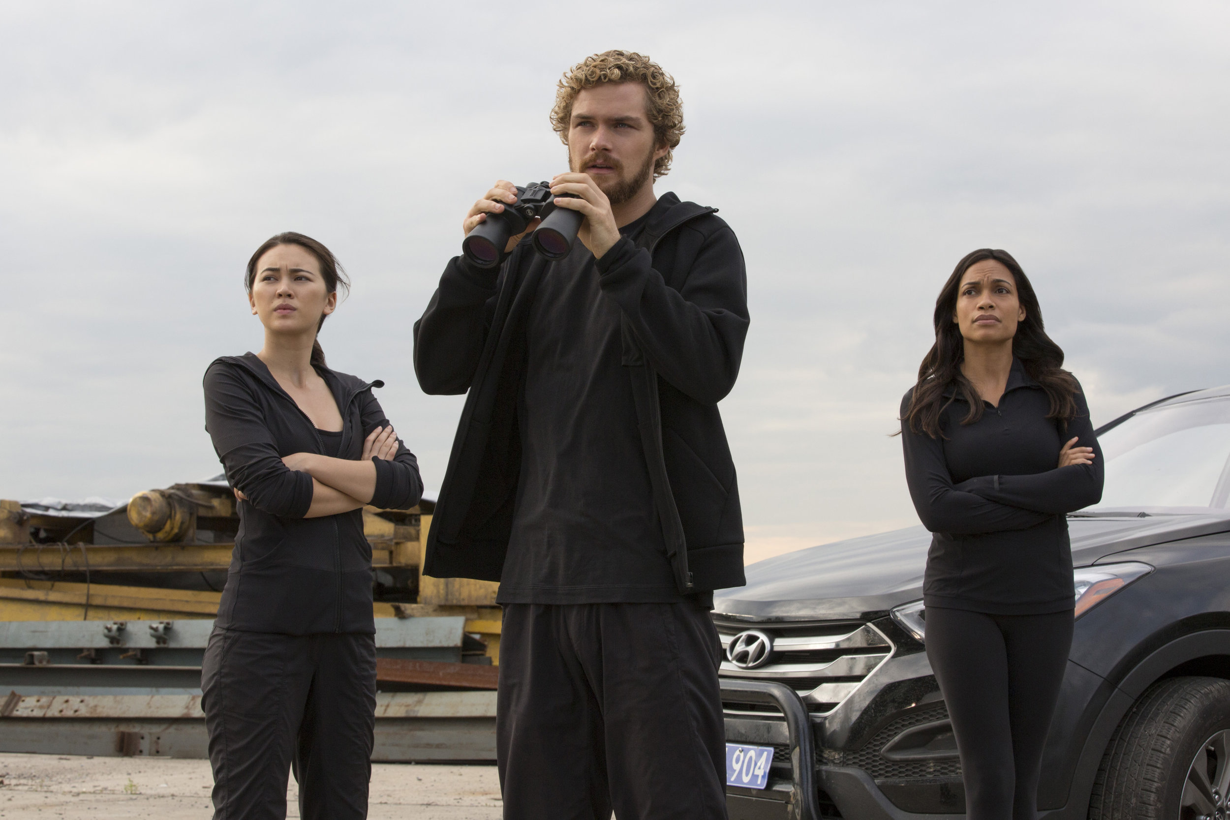 Dude, Where's My Karma: Jessica Henwick (Colleen), Finn Jones (Danny) and a rightly concerned Rosario Dawson (Claire) in Netflix's  Iron Fist